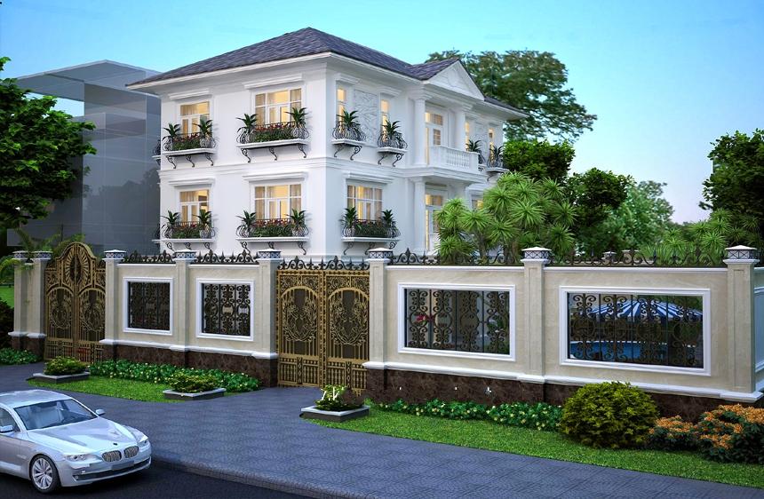 Thiết kế biệt thự phong cách Châu Âu phong cách cổ điển