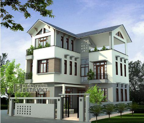 Thiết kế biệt thự 3 tầng diện tích đất 500m2 hình chữ L