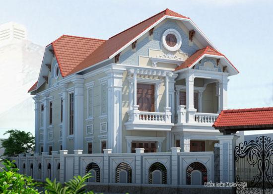 Thiết kế biệt thự 3 tầng đẹp theo phong cách Pháp diện tích 130m2