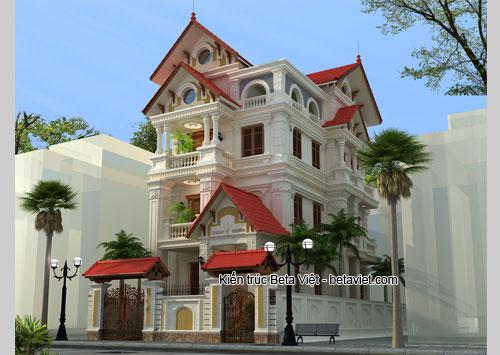 Thiết kế biệt thự trên đất 12x25m2 theo phong cách cổ điển