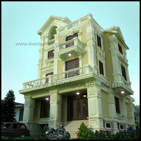 Thiết kế biệt thự 4 tầng theo kiến trúc Pháp cổ