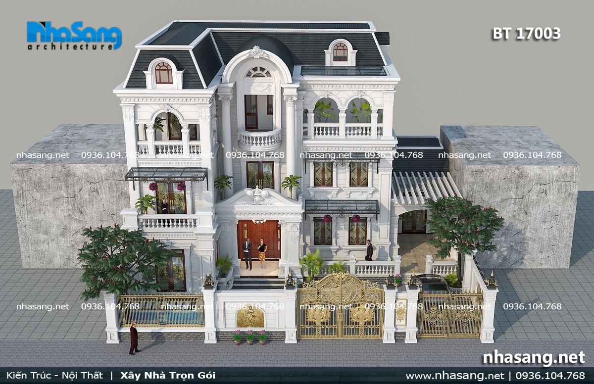 Thiết kế biệt thự 3 tầng kiểu Pháp kiến trúc tân cổ điển