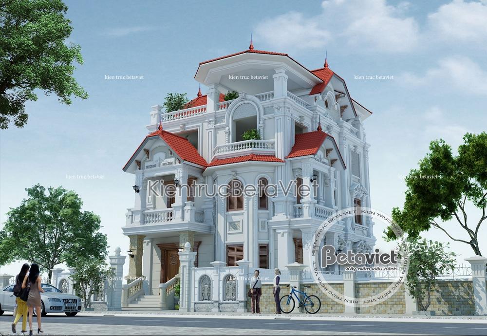 Mẫu thiết kế biệt thự Cổ điển Pháp 3.5 tầng diện tích: 10m x 14.5m