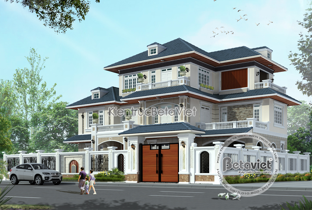 Mẫu thiết kế 3 tầng hiện đại diện tích: 21m x 12,5m
