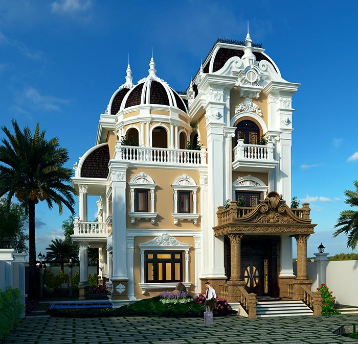 Mẫu thiết kế biệt thự cổ điển 3 tầng phong cách Châu Âu