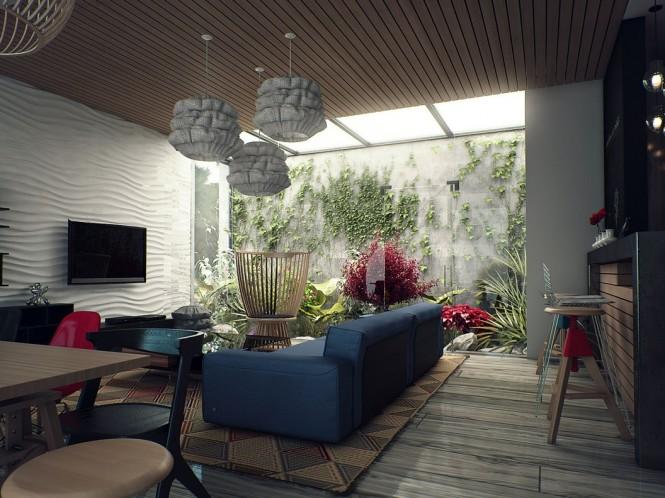 Sân nhỏ mang không gian xanh cho nhà thêm đẹp