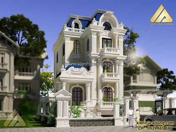 Thiết kế biệt thự 3 tầng kiểu pháp - BTP30