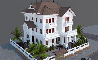 Mẫu thiết kế biệt thự tân cổ điển 3 tầng tại Hà Nội