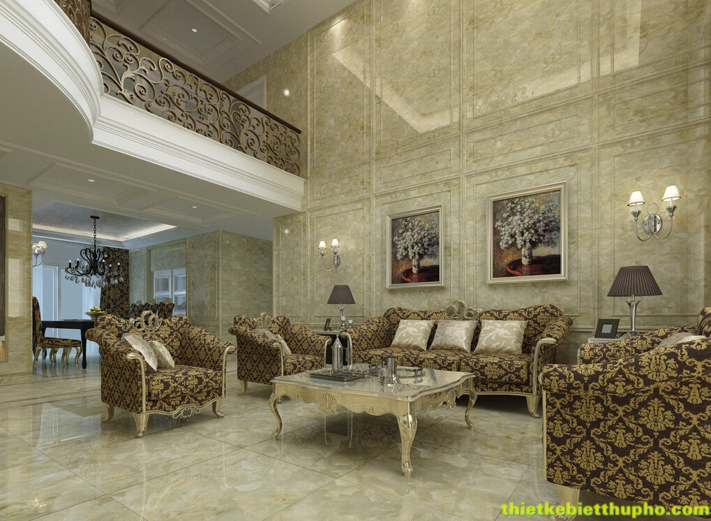 Thiết kế nội thất biệt thự cổ điển với tông màu nâu trầm