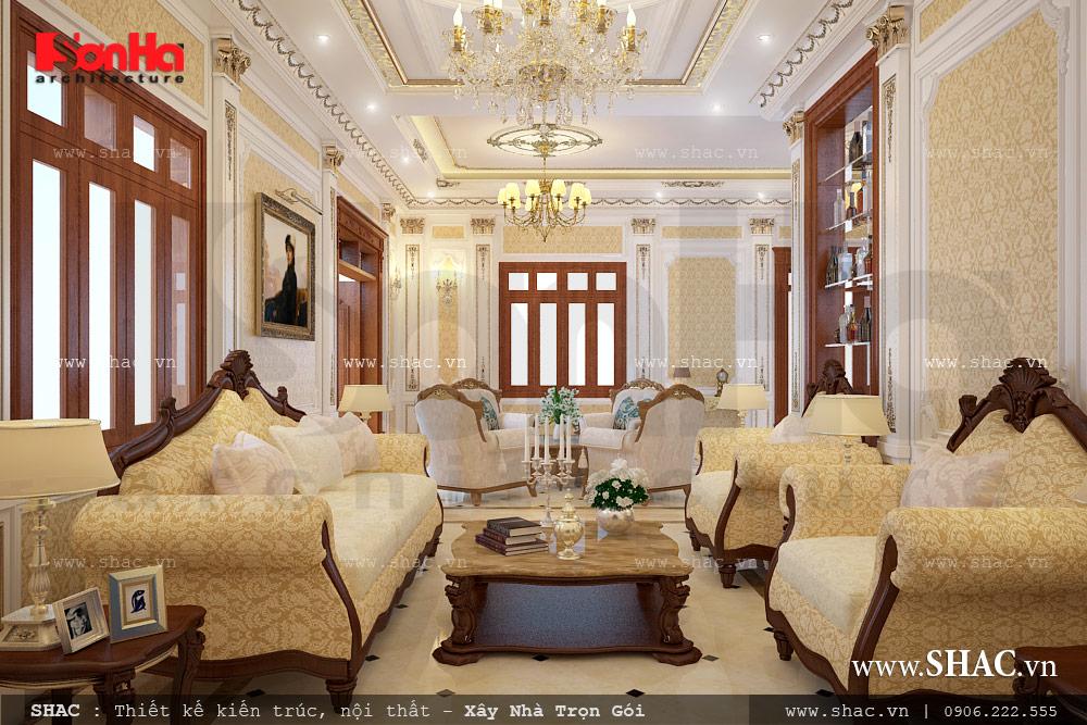 Nội thất phòng khách biệt thự cổ điển châu Âu