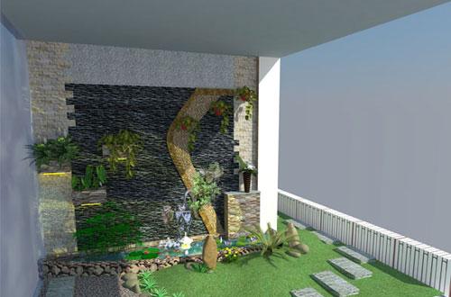 Thiết kế sân vườn trên hành lang nhà phố