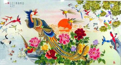 tuoi dau nen chon tranh phong thuy phong khach co hinh phuong hoang, bach dieu trieu phung. anh minh hoa